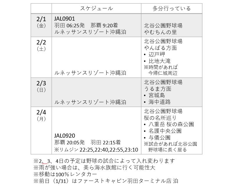 沖縄の旅プランニング(2019年2月)